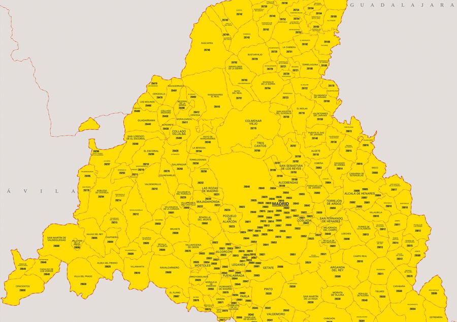 Mapa Cdad. de Madrid con municipios y códigos postales