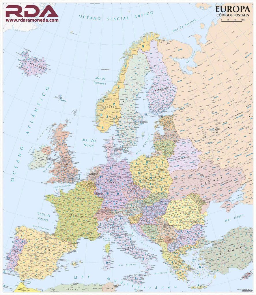 Mapa Europa Codis Postals
