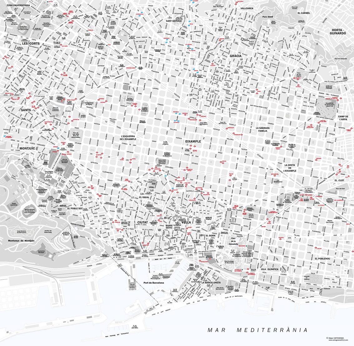 Mapa vectorial Barcelona ciudad