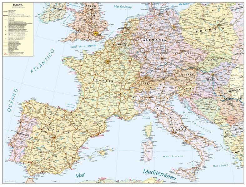 Mapa Europa vías tren mercancías